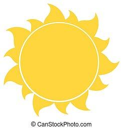 sol, silueta, amarela