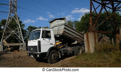 sol, site, dumper, sable, construction, camion, déchargement, pendant, travaux, ou, route