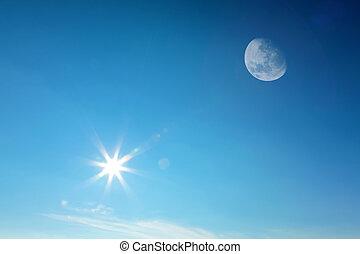 sol, sky, tillsammans, måne