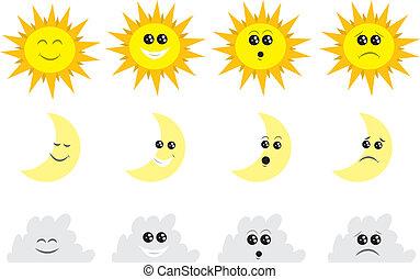 sol, skyn, måne