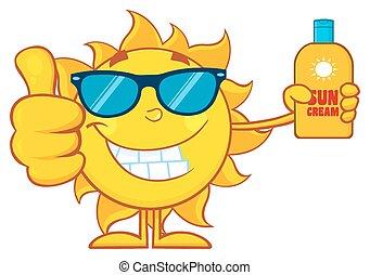 sol, smil, viser, oppe, tommelfinger