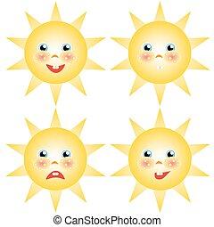 sol, smilies, jogo, desenhos