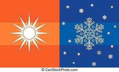 sol, snowflake, símbolo, clima
