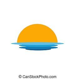 sol, sobre, mar