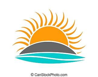 sol, sobre, onda, armando, mar, ilha, logo., ícone