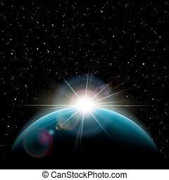 sol, sobre, planeta, estrelas, terra, amanhecer