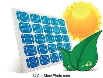 sol, solar, folheia, painel