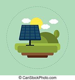 sol, solar, paisagem, nuvem, painel