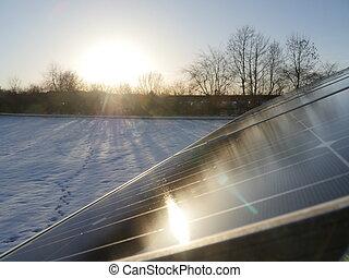sol, solar, telhado, inverno