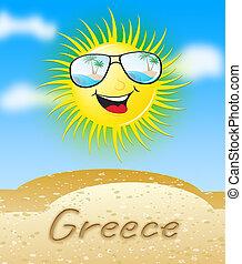 sol, soleado, ilustración, significado, grecia, sonriente, 3d