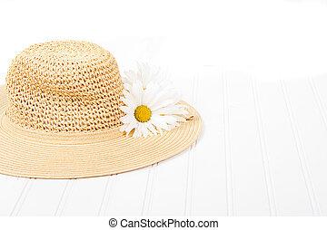 sol, sombrero blanco, plano de fondo