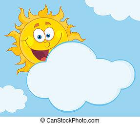 sol, sonriente, atrás, nube