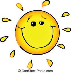 sol, sonriente, carácter, caricatura