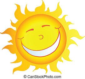 sol, sonriente, carácter, caricatura, feliz