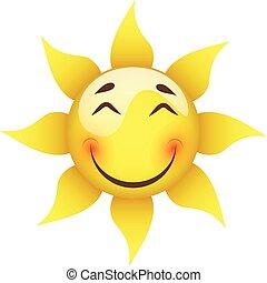 sol, sonriente, fondo blanco, amarillo