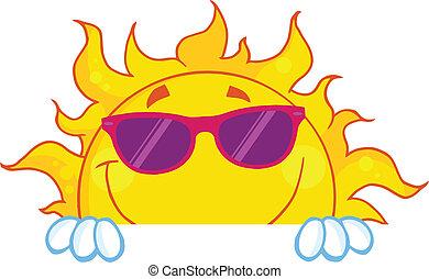sol sorridente, com, óculos de sol