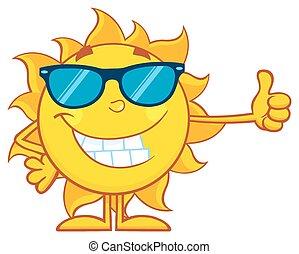 sol sorridente, mascote, personagem