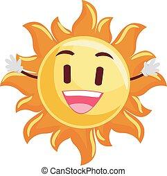 sol sorridente, mascote