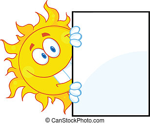 sol sorridente, olhar ao redor, um, sinal