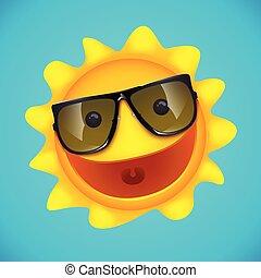 sol sorridente, personagem, ligado, azul