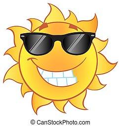 sol, sorrindo, óculos de sol