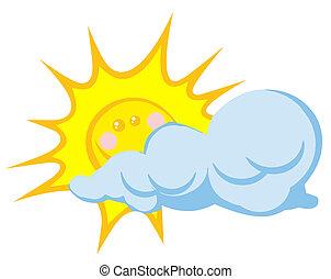 sol, sorrindo, atrás de, nuvem