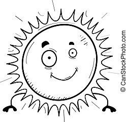 sol, sorrindo, caricatura