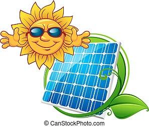 sol, sorrindo, painel solar