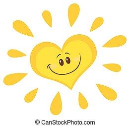 sol, sorrindo, personagem, coração