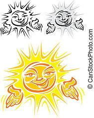 sol, sorrindo, símbolo