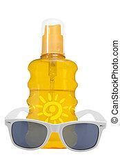 sol, sunglassses, óleo, produto, proteção