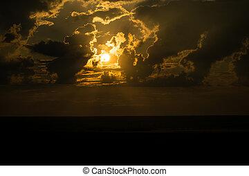 sol, sunset:, naranja, por, hermoso, nubes, luz