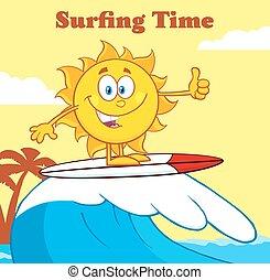 sol, surfa, text, surfare, tid