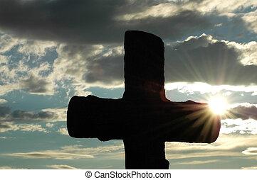 sol, tarde, silueta, cruz, contra