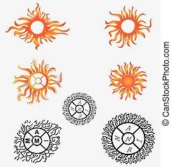 sol, tatuagem, logotipos