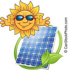 sol, tecknad film, solar panel