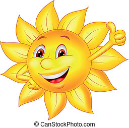 sol, tecknad film, tecken, tumme uppe