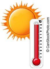 sol, termômetro, quentes