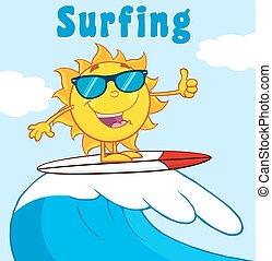 sol, text, bakgrund, surfare