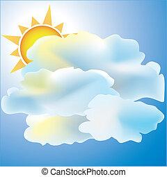 sol, tiempo, nublado, principalmente, icono