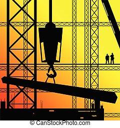 sol, trabalho, trabalhador, ilustração, construção, supervisionar