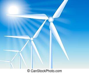 sol, turbinas, vento