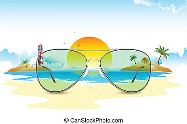 sol, udsigter, igennem, hav, glas