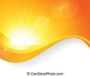 sol, vågig, fond mönstra