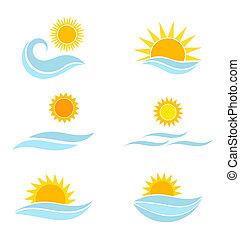 sol, vågor, hav, ikonen