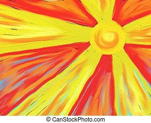 sol, varm, stråle