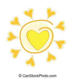 sol, vector, ilustración, corazón