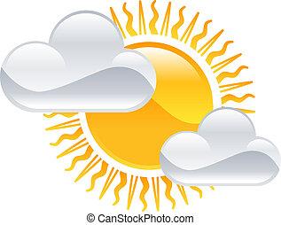 sol, vejr, skyer, clipart, ikon
