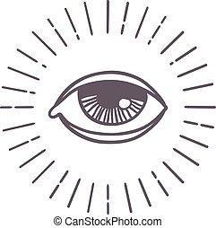 sol, vektor, øje, symbol.