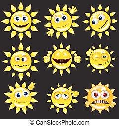 sol, vektor, sæt, cartoon, smiley.